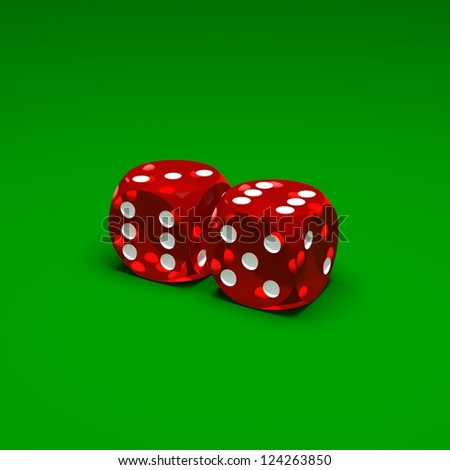 Two red dices on green background