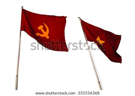 Two red flags with the hammer and sickle and with a star - stock photo