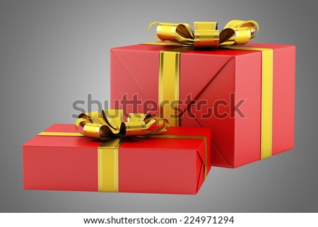 two red gift boxes with golden ribbons isolated on gray background - stock photo