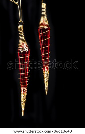 two red hanging drops - stock photo