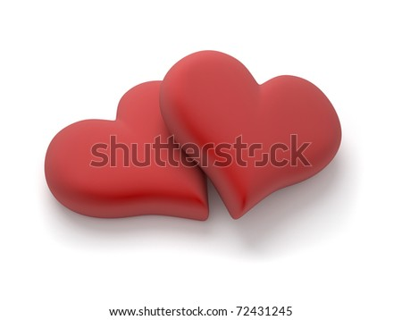 Two red heart over white - 3d render illustration - stock photo
