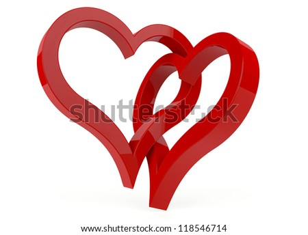 Two red heart symbol on white background