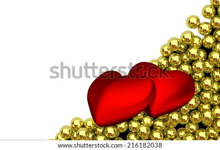 two red hearts and glossy golden speres on background - 3D render - stock photo