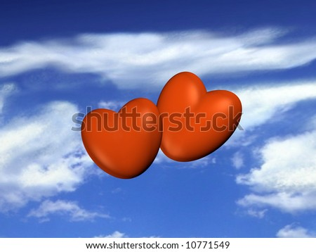Two red hearts flying on the blue sky - stock photo