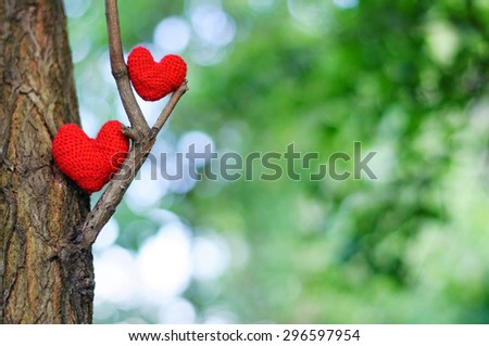 Two red hearts. valentines day postcard, I love you, - stock photo