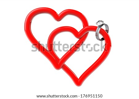 Two red hearts with diamond wedding ring on a white background