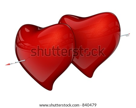 Two Red Hearts with One Arrow Isolated on White Background