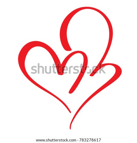 Two red lovers heart. Handmade  calligraphy. Decor for greeting card, photo overlays, t-shirt print, flyer, poster design