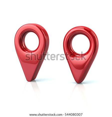 Two red map pins 3d illustration isolated on white background