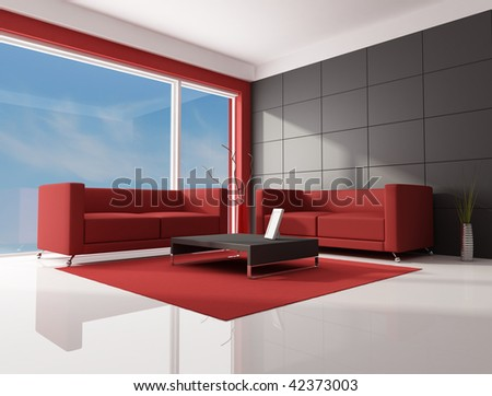 two red modern sofa in a contemporary lounge - rendering-the image on background is a my photo