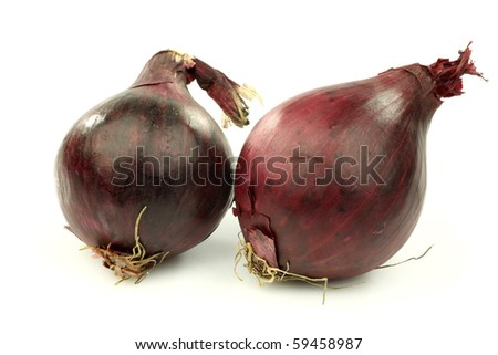 two red onions on a white background