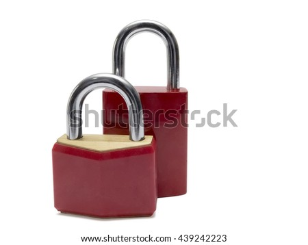 Two red padlocks, isolated on white background.