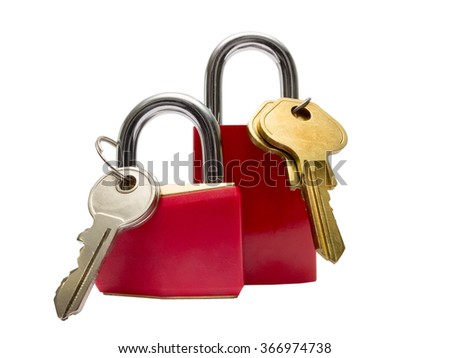 Two red padlocks with keys, isolated on white background - stock photo