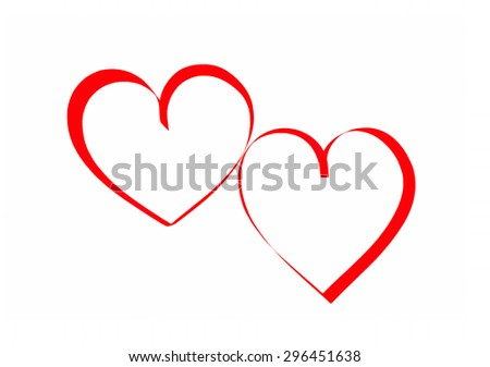 Two red paper hearts isolated on white