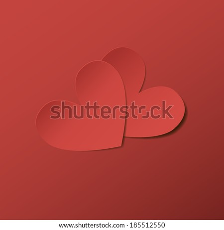Two red paper hearts.  Raster version