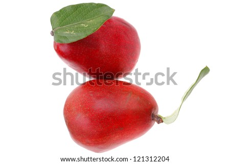two red pears isolated over white background