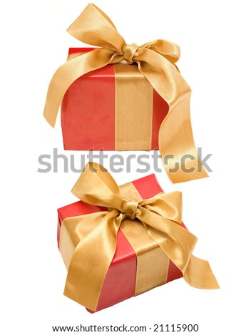 two red presents on a white background