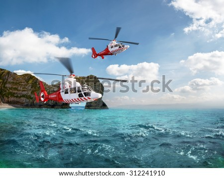 Two red rescue helicopter flying in blue sky above the sea - stock photo