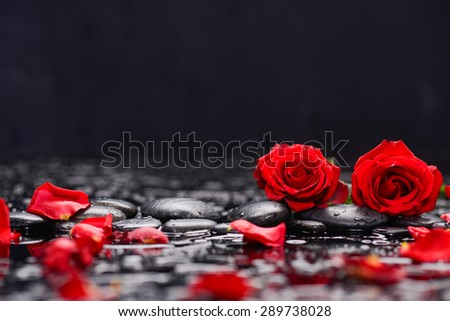 Two red rose ,petals with candle and therapy stones  - stock photo
