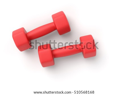 Two red rubber or plastic coated fitness dumbbells isolated on white background. 3D illustration