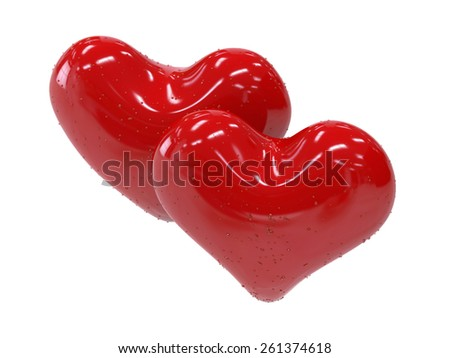 Two red shiny heart isolated on white background. Symbol of romance and love. - stock photo