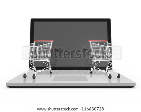 Two red shiny shopping carts on laptop with reflection to blank screen, isolated on white background.