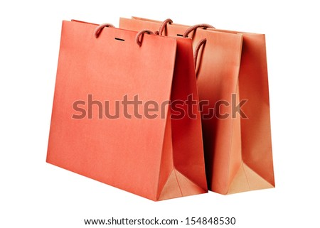 Two  red shopping bags on white  - stock photo