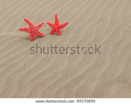 Two Red Starfish on the Beach with Windswept Sand Ripples - stock photo