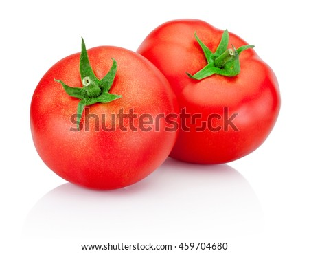 Two red tomatoes isolated on white background - stock photo