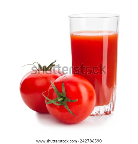 Two Red Tomatoes With Glass Of Tomato Juice Isolated On White Background