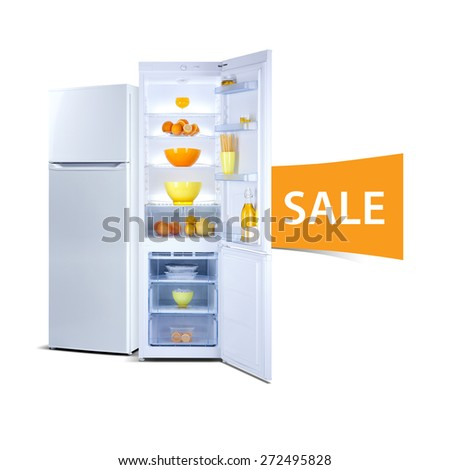 Two refrigerators isolated on white, open door, Class A+, A plus plus, eco, fresh food - stock photo