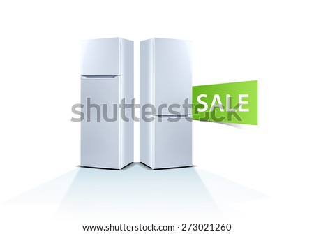 Two refrigerators on white background, front view, with food, isolated on white, sale word, label, sticker - stock photo