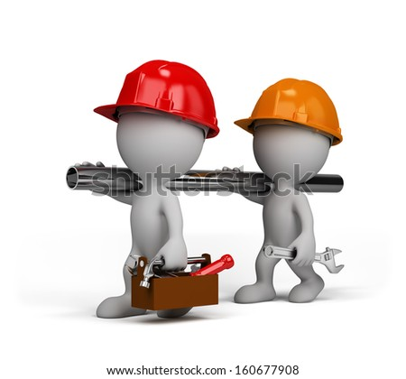 Two repairman go to perform the task. 3d image. White background. - stock photo