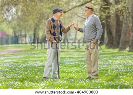 Two retired seniors having a conversation in a park on a sunny spring day