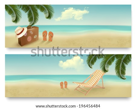 Two retro summer vacation banners. Raster version. - stock photo
