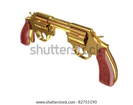 Two revolvers aiming to each other. Surrealistic self-damage concept. 3d rendered. Isolated on white background.