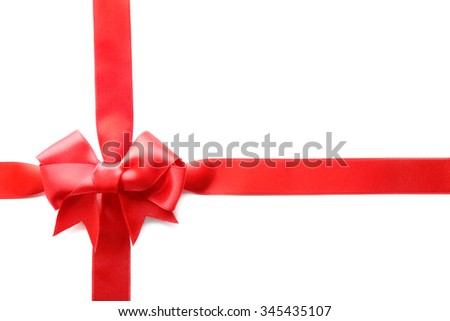 Two ribbons and bow, isolated on white