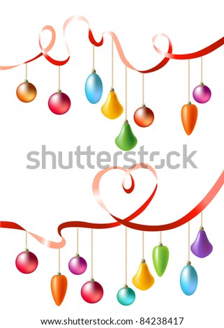 Two ribbons with hanging christmas balls. Raster version.