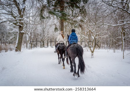 Two riders on the horses at beautiful winter snowy forest. Back view. - stock photo