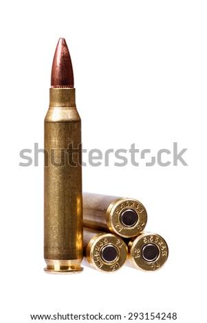 Two rifle bullets ( ammunition). - stock photo