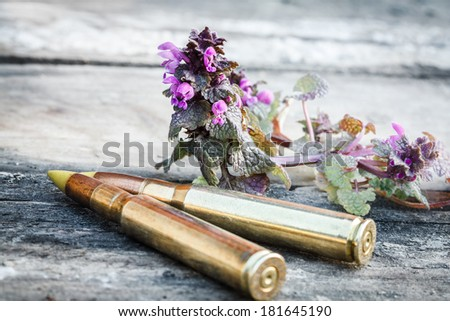 """two rifle bullets on old wood desk with """"Flower power"""" symbol of passive resistance (Garrulus darius) - stock photo"""