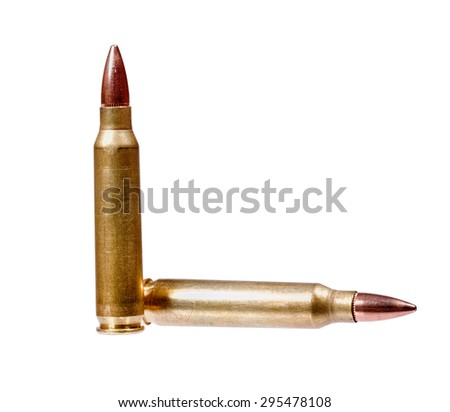 Two rifle bullets one vertical and the other horizontal isolated on white background.