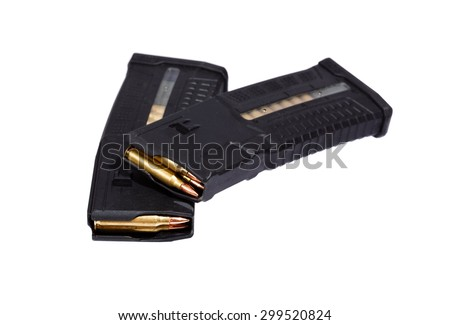 Two rifle magazins with bullets. - stock photo