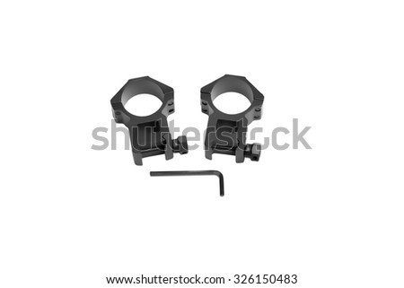 two ring for mounting a rifle scope on an isolated white background