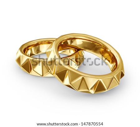two rings isolated on a white background - stock photo