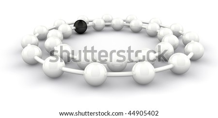 Two rings of white with one black ball, conceptual for teamwork, totherness