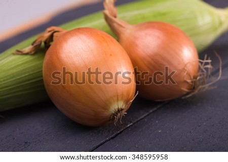 Two ripe appetizing domestic fresh golden onions vegetables with shining peel laying near green sweet corn cob eco products on black wooden background closeup horizontal picture - stock photo