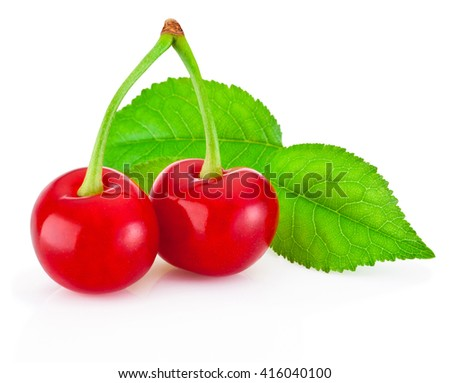 Two ripe cherries with leaf isolated on white background - stock photo