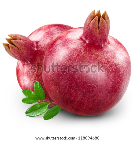 Two ripe pomegranate isolated on white - stock photo