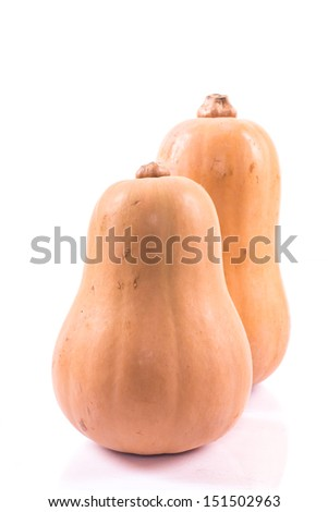 two ripe pumpkin on a white background